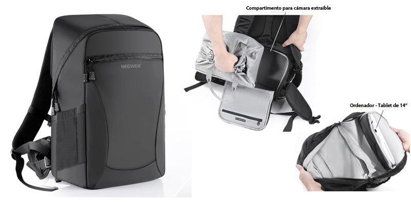 Mochila para camaras reflex barata y espacio para ordenador - Neewer